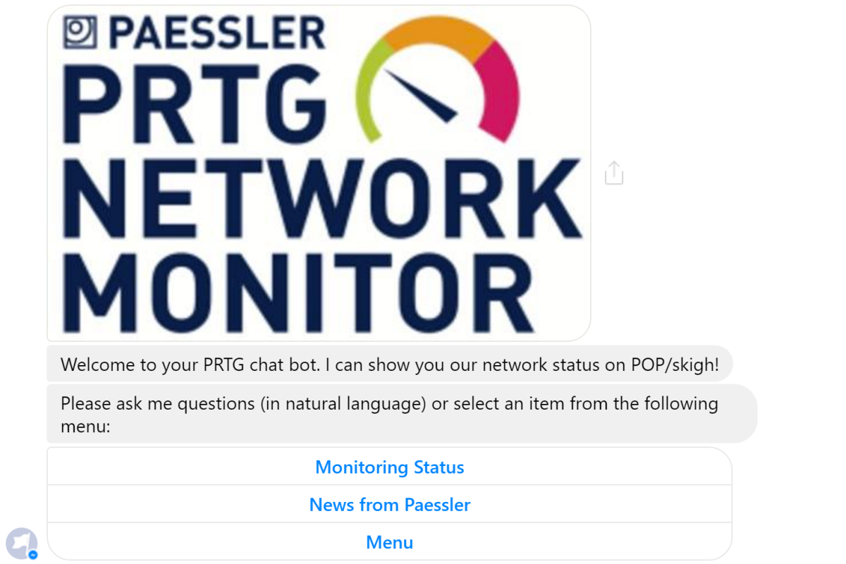 How to create a free chatbot to access your PRTG server status with Facebook Messenger in 15minutes