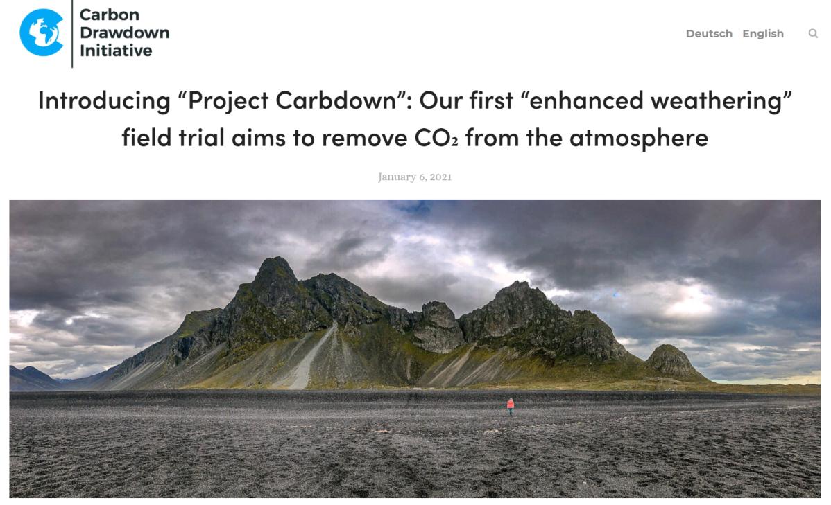 """Wir stellen vor: """"Project Carbdown""""– Unser erster Feldversuch mit """"beschleunigter Verwitterung"""" zum Einfangen von CO₂ aus derUmgebungsluft"""