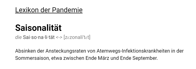 "Lexikon der Pandemie: ""Saisonalität"""